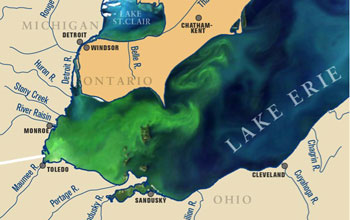 Map showing lake Erie algae bloom in September 2011
