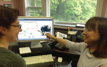 Photo of Carla Companion on left and Mary Jane Perry pointing to a webinar on the bloom.