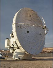 Photo of the first North American 12-meter antenna formally accepted by the ALMA Observatory.