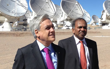 NSF Director Subra Suresh with Chile President Sebastian Pinera and ALMA telescope