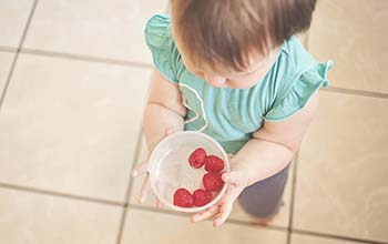 baby holding a bowl of berries
