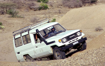Photo of terrain vehicle in the Awash Valley in Ethiopia.