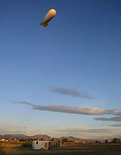 The blimp Tethered Lifting System (TLS) acts as a platform to take atmospheric measurements.
