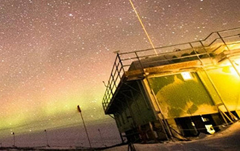 Lidar shooting into the Antarctic night sky