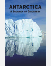 Photo of an iceberg with text Antarctica, A Journey of Discovery.