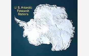 Map of Antarctica and U.S. Research Stations in text
