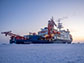 the Polarstern icebreaker frozen into Arctic sea ice