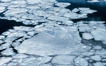 "Arctic ""pancake"" ice consists of round pieces ranging from inches to feet in diameter."