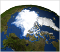 View of Arctic sea ice from space.