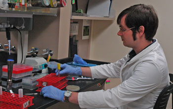 Image of Alistair Russell, NSF Graduate Research Fellow in the laboratory of Joseph Mougous.