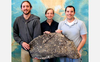 UCSB's Christopher Farwell, Sarah Bagby and David Valentine with a piece of asphalt volcano.