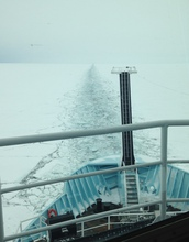 R/V Sikuliaq breaking through two feet of lake ice.