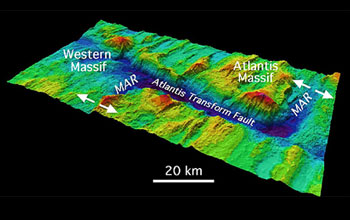 Map of the Atlantis Massif showing the fault that borders this Atlantic Ocean seamount.