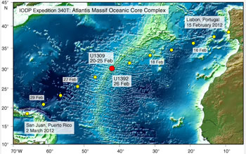 Map of IODP expedition undersea sampling sites at Atlantis Massif.