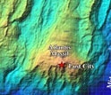 Map of the Atlantis Massif showing the location of its Lost City hydrothermal vents.