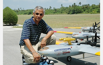 V. Ramanathan, chief scientist of the Maldives Campaign, with AUAVs.