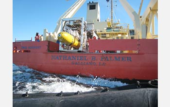 Photo of autosub being launched from the R/V Nathaniel B. Palmer.