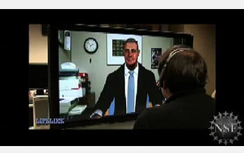 A still image of a Project LifeLike avatar conversing with a person.