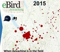 bird visits plotted on a regional map