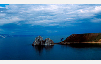 Photo of Shaman Rock on Russia's Lake Baikal, the world's largest freshwater lake.