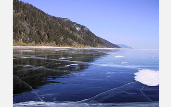 Photo of winter ice on Lake Baikal, less frequent due to global warming.