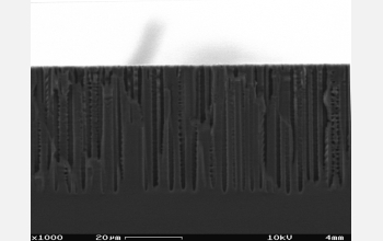 Scanning electron micrograph of the side view of the porous-silicon wafer