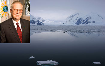 Photos of Arden Bement, NSF's director, and glaciers.
