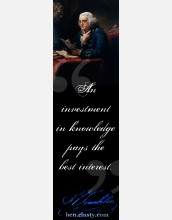This bookmark announces the ben.clusty.com website and features Benjamin Franklin (by David Martin)