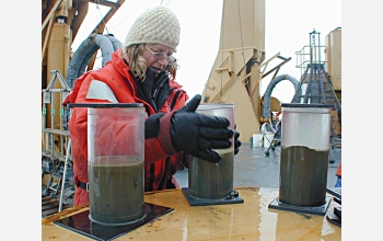 Jackie Grebmeier prepares sediment samples taken from Arctic waters.