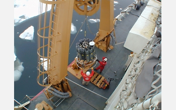 Instruments sample such factors as salinity and temperature of Arctic waters.