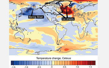 Map showing altered currents that once produced ocean warming (right, dark red) melting ice sheets.