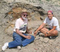 Photo of John and Ellen Currano in the quarry during the summer 2007 field season