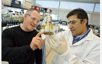 Photo of JBEI Director Jay Keasling with Rajit Sapar in lab with a beaker of cellulose sludge.