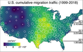 map colors indicate estimates of migration traffic
