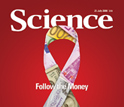 The cover of the July 25, 2008 edition of Science featuring a pink ribbon.