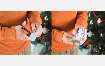 On left, image of hands holding scissors cutting a bill, on right hands holding a wad of bills.