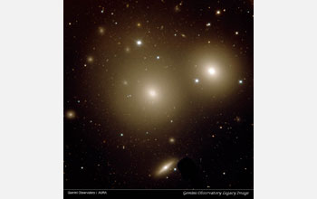 Image of two giant elliptical galaxies obtained by the Gemini Observatory.