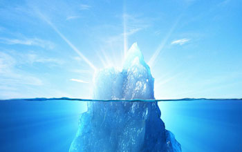 Illustration of an iceberg with uppermost part above the water with beams of light from the ice.