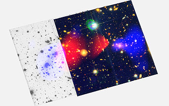 The separation of luminous gas appears red, and dark matter appears blue.