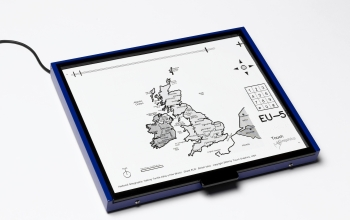 This Talking Tactile Tablet features a map of the United Kingdom from a world atlas.