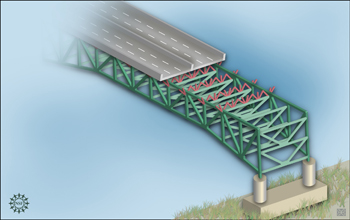 Artists rendition showing interior of a bridge similar in structure to the I35-W bridge.