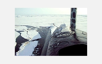 Bridge of submarine amid ice