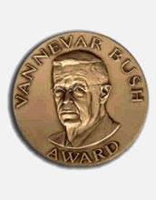 Image of the Vannevar Bush award medal.
