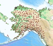 Map of EarthScope Alaska Transportable Array stations (red symbols). Circles are new stations.