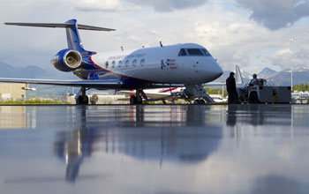 The NSF/NCAR Gulfstream V aircraft in Anchorage, Alaska, outside the hangar