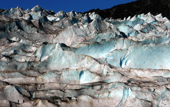 Photo of ice wall in Mendenhall Glacier, Alaska.