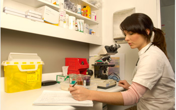 Photo of a woman in a lab.