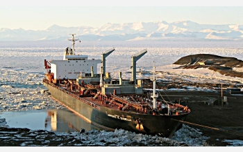 The tanker Lawrence H. Gianella sits alongside the ice pier at McMurdo Station in Antarctica.