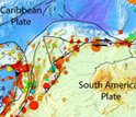 Map showing the seismotectonic context of Earth's Caribbean tectonic plate.