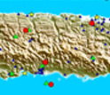 Map showing the GPS-seismic-tide gauge monitoring network in Puerto Rico and the Virgin Islands.